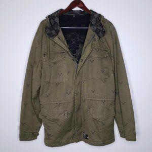 Vans Olive Green Men's Hooded Overcoat Jacket L
